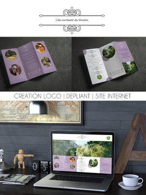 """Thème """"gîte"""" Confiez-moi la création de votre logo, la conception de votre site internet et la réalisation de vos dépliants."""